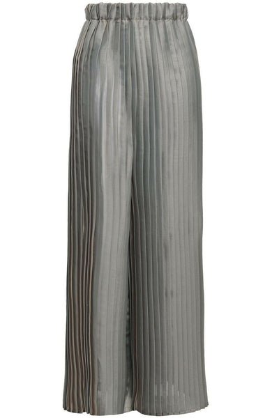 Brunello Cucinelli Metallic Iridescent Pleated Wide Leg Pants Trousers I 46 XL ladies