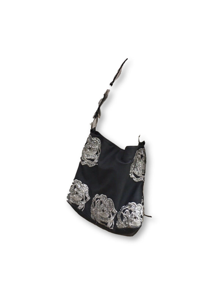 Betsey Johnson Grey Embroidered Sequins TOTE HOBO SHOULDER BAG HANDBAG Ladies
