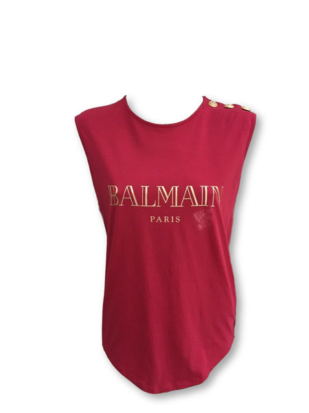 BALMAIN Ladies Cotton Sleeveless Top T-shirt  Ladies