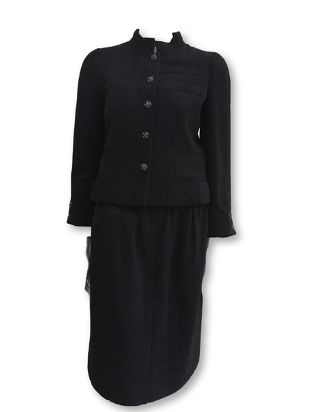 Chanel 06A Couture Black Wool Iconic 2-piece skirt suit  Ladies