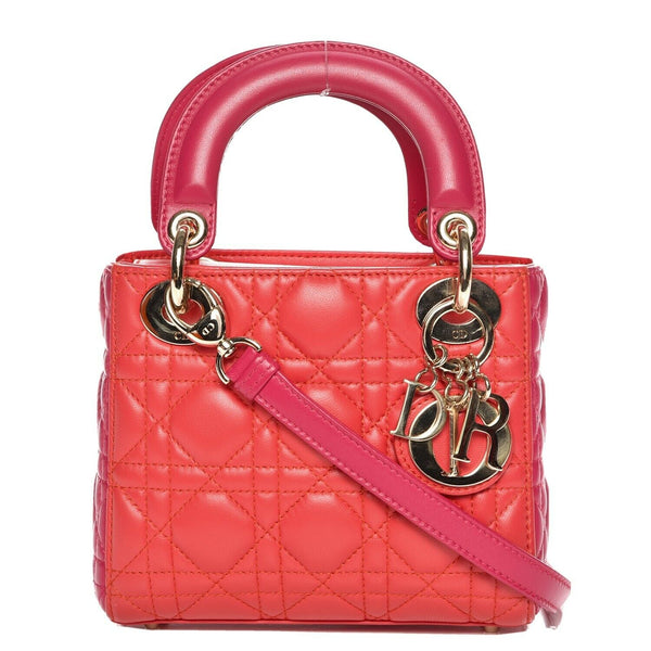 Christian Dior Lambskin Cannage Mini Bi-Color Lady Dior Orange Fuchsia Bag ladies