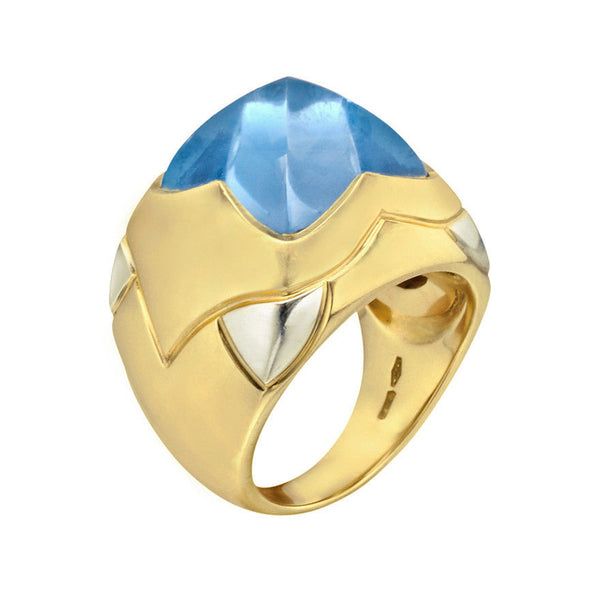Bvlgari Topaz Pyramide Cocktail Yellow Gold Ring 18K 18ct 750 16g Ladies