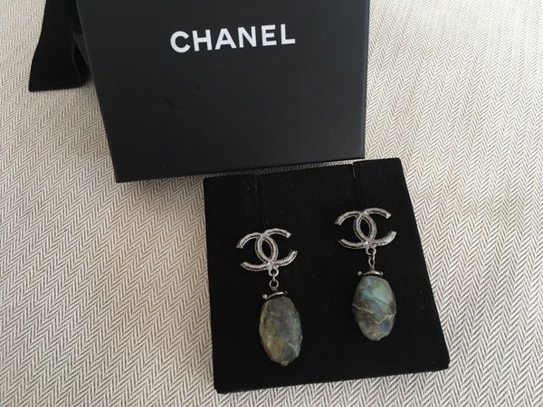 CHANEL LOGO 14A 2014 REAL STONE MARBLE LARGE DROP EARRINGS JUST AMAZING ladies