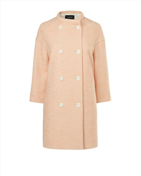 JAEGER LONDON Women's Pink Summer Tweed Coat Ladies