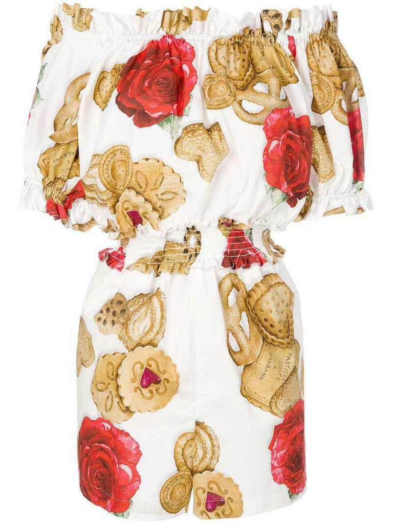 Dolce & Gabbana 2018 White Rose Biscuit Print Playsuit Romper Ladies