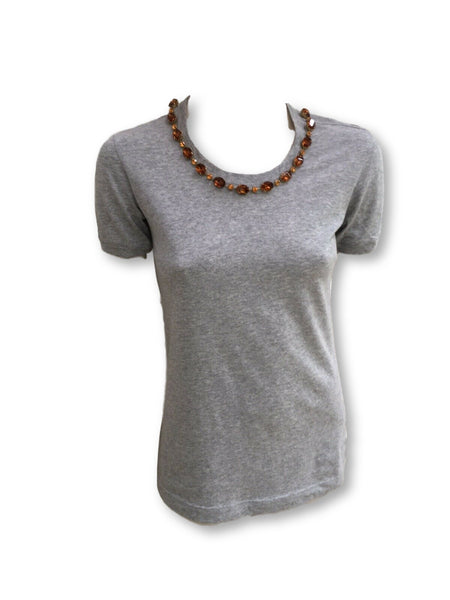 Dolce & Gabbana D&G T-shirt Grey Cotton Jeweled Embellished Top  Ladies