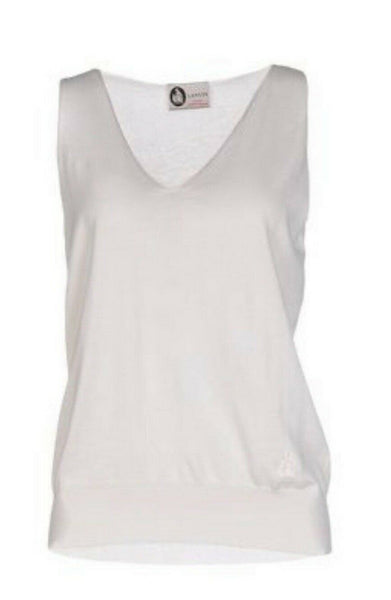 LANVIN Thin Knit Cashmere V neck Top Size XS ladies