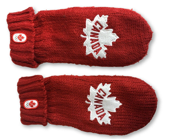 Winter Olympics Canada Red & White Mittens Gloves Maple Leaf 2012 Size L / XL MEN