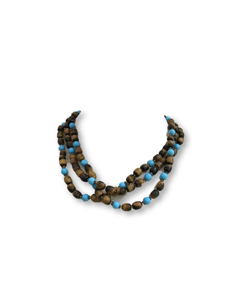 925 Sterling Silver Tiger's Eye & Turquoise Bead Triple Chain Necklace 129g Ladies