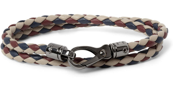Tod's Euro 2016 Men's limited-edition woven leather wrap bracelets Men