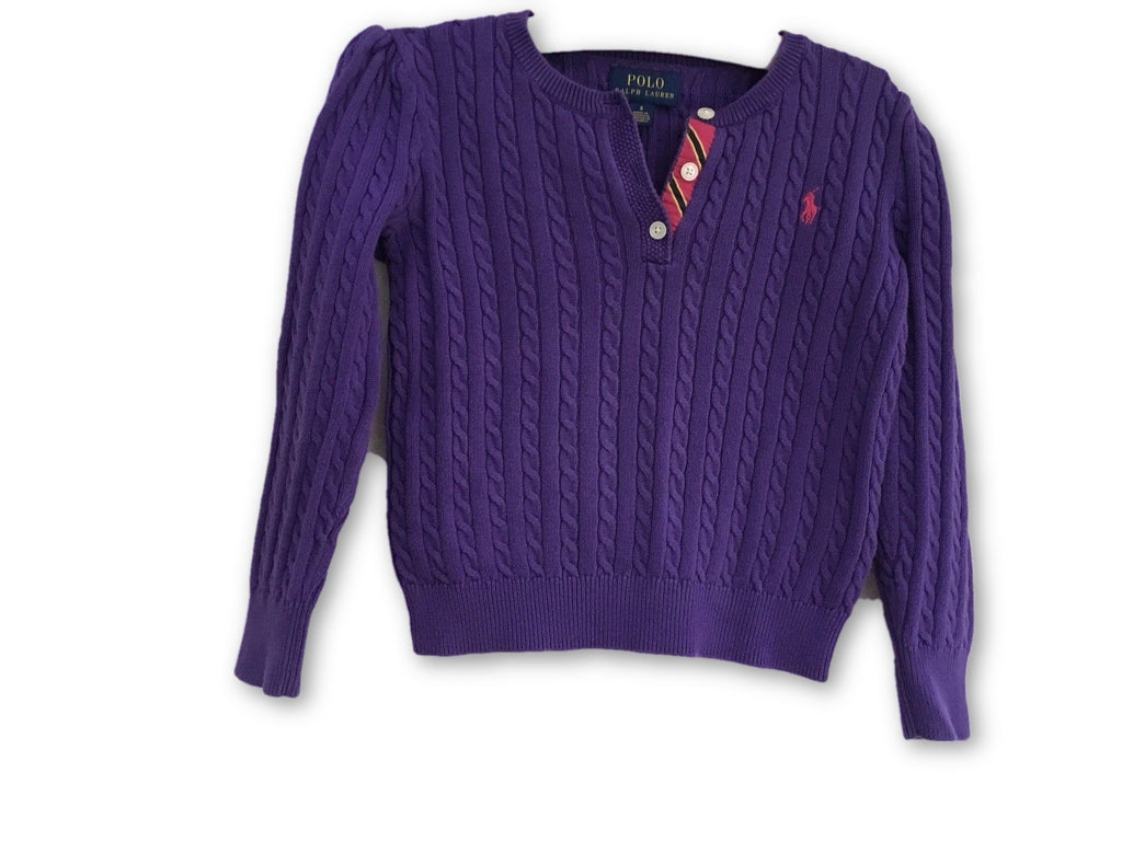 Cable Polo Purple Lauren Jumper Old 5 Ralph Knit Children Sweater Years yvnwmN8O0