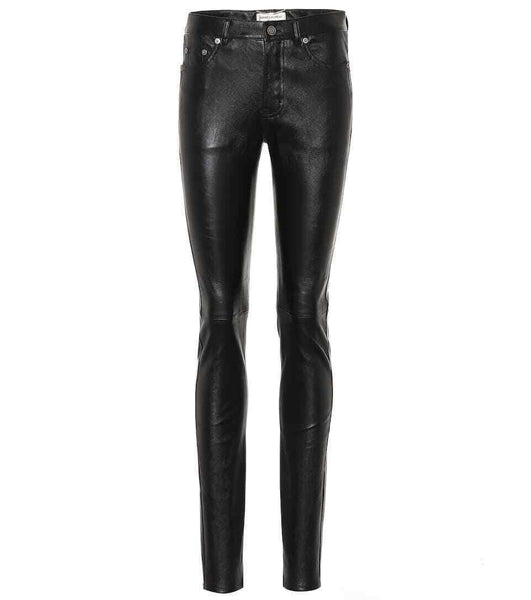 Saint Laurent SOLD OUT Black Leather skinny pants trousers F 38 UK 10 US 6 Ladies