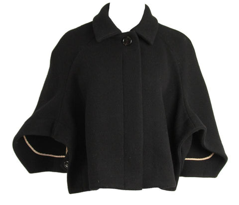 Chloé CHLOE Paris Black Wool Cropped Cape Coat Size F 34 UK 6 US 2 XS Ladies