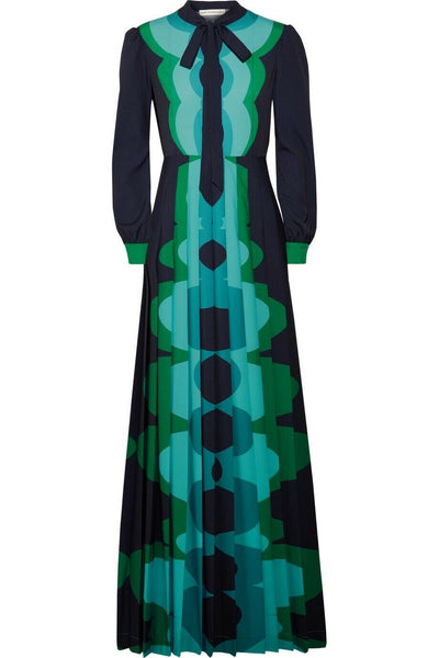 MARY KATRANTZOU Duritz Pleated pussy bow gown Maxi Dress Size 10 US 6 Ladies