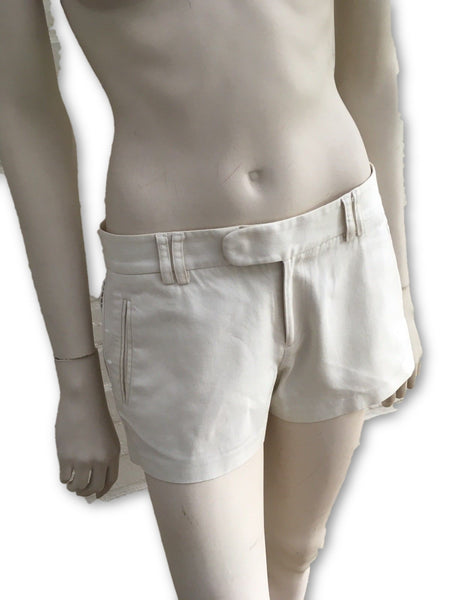 Catherine Malandrino Short Shorts Beige Silk Blend Eyelet Lace Sides  LADIES