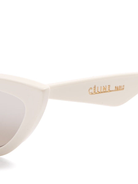 Céline Spring 2018 Runaway WHITE CAT EYE SUNGLASSES WITH MIRROR LENSES Ladies