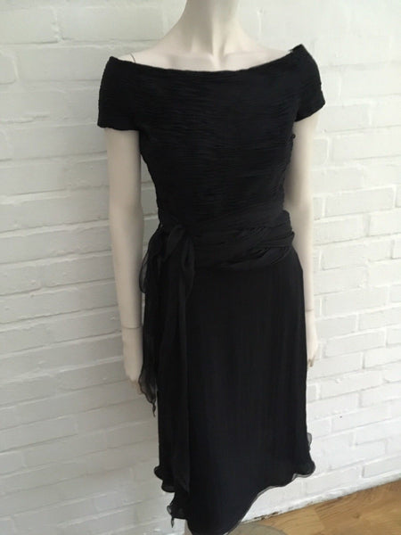 Valentino Boutique '90s Silk Little Black Dress Elegant Size US 6 UK 10 Ladies