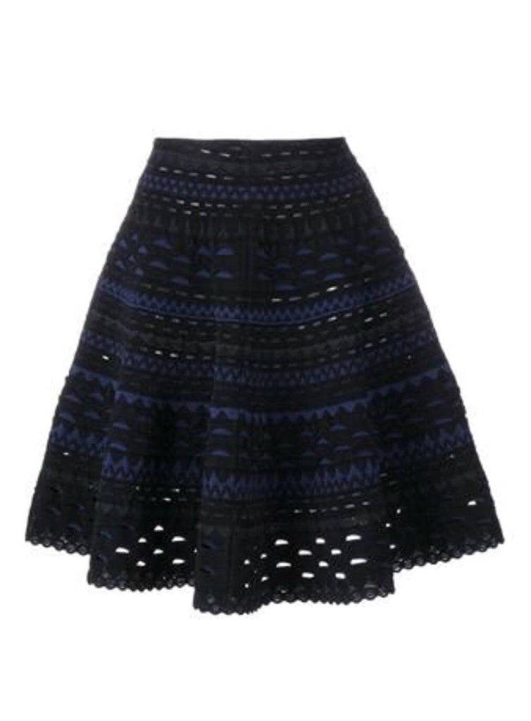 AZZEDINE ALAÏA ALAIA SILLANGE NAVY BLACK KNEE-LENGTH SKIRT Ladies
