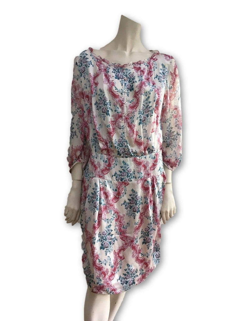 HUGO BOSS Silk Chiffon Water Color Floral Dress Ladies