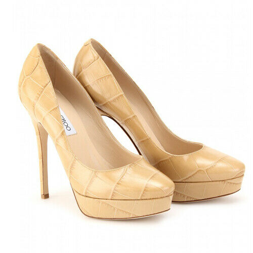 JIMMY CHOO Pumps Cosmic 120Mm Nude Mock Croc Platform Shoes  ladies