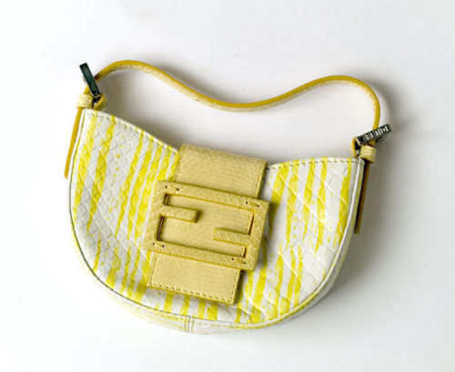 FENDI Snake Skin Mini Half Moon Baguette Bag Handbag Ladies
