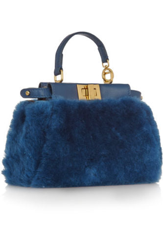 FENDI Micro Peekaboo leather-trimmed shearling shoulder bag 2017 Collection Ladies