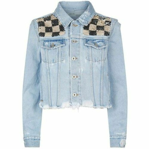 Off-White c/o Virgil Abloh checkered sequin denim jacket Ladies