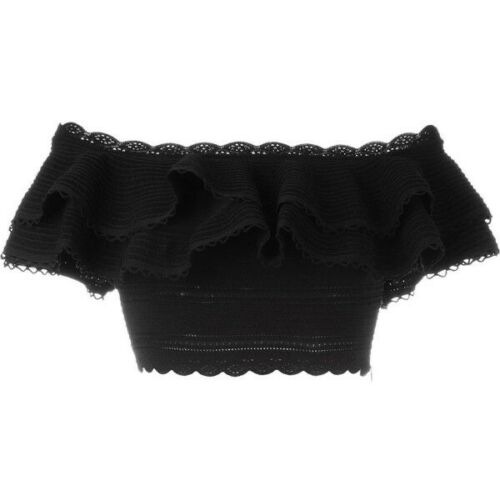 ALEXANDER MCQUEEN black ruffle knit off the shoulder cropped top Size S Small ladies