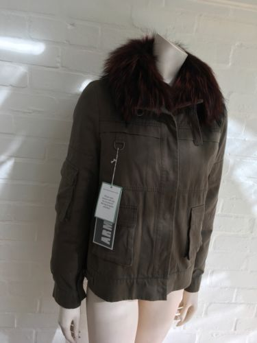 Yves Salomon Army Collection natural raccoon rabbit fur short jacket Sz F 34 XS Ladies