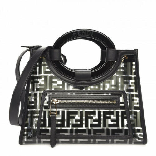 FENDI TPU FF PVC Small Glass Runaway Shopper Tote Black Latest Collection ladies