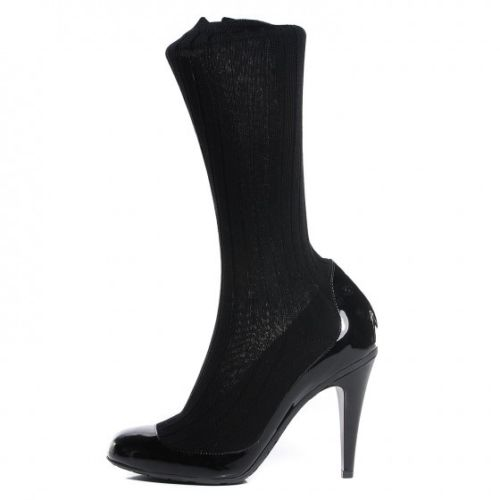 CHANEL BLACK PATENT LEATHER ROUND-TOE SOCK MID-CALF BOOTS SHOES LADIES