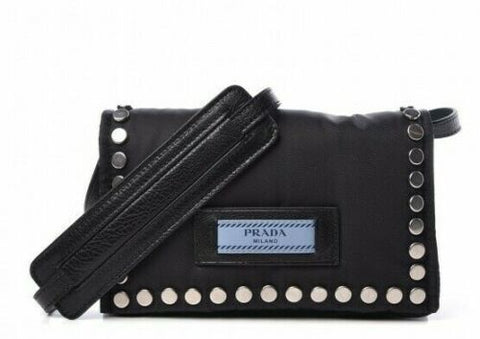 PRADA 2019 Nylon Tessuto Studded Mini Etiquette Bag Black Astrale Handbag ladies