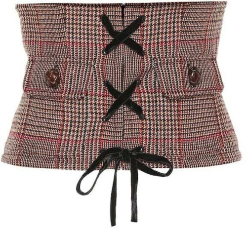 MIU MIU 2020 Velvet and leather-trimmed Princ Checked wool corset belt Ladies