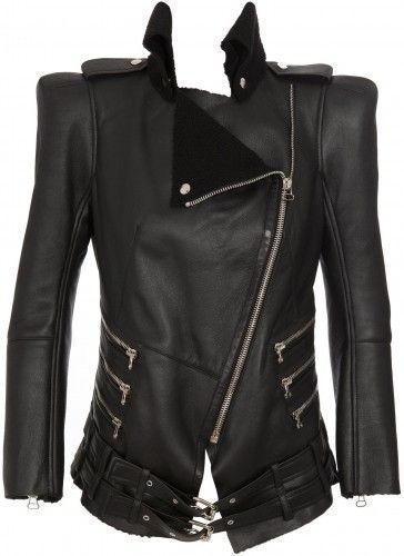 Balmain Shearling Lined Biker Jacket Size 40 S Small Most Wanted $10,450 Ladies