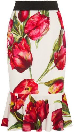 Dolce & Gabbana Fluted floral-print stretch-silk skirt  Ladies