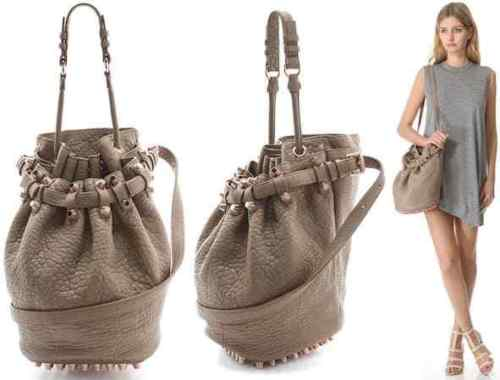 ALEXANDER WANG Pebbled Lambskin Diego Bucket Bag Latte Hobo Handbag Ladies