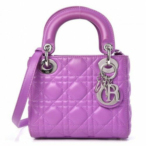 Christian Dior Mini Lady Lambskin Cannage Dior Purple Bag Handbag MOST WANTED ladies