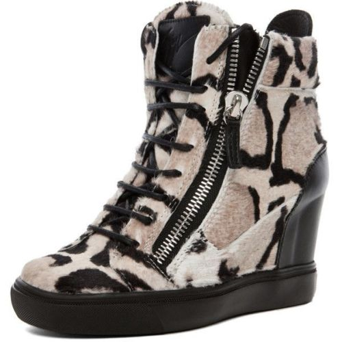 Giuseppe Zanotti Women PonyHair Wedge Sneakers In Leopard 37 UK 4 US 7  LADIES