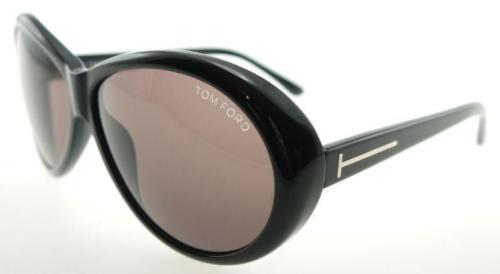 TOM FORD GERALDINE BLACK / BROWN SUNGLASSES TF202 01J LADIES