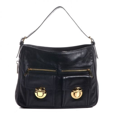 MARC JACOBS Leather Lisa Hobo Black Bag Handbag Ladies