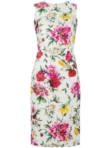 Dolce & Gabbana Sleeveless Floral Brocade Sheath Day Dress Size I 42 ladies
