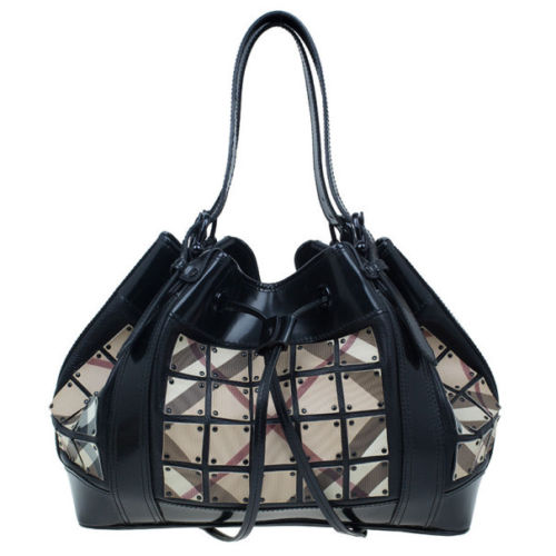 Burberry Prorsum Black Nova Check Leather Warrior Armor Hobo Handbag Bag Ladies