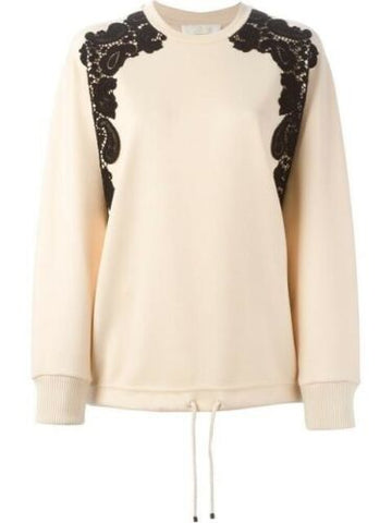 Chloé Chloe lace detail sweatshirt wool top size F 40  Ladies