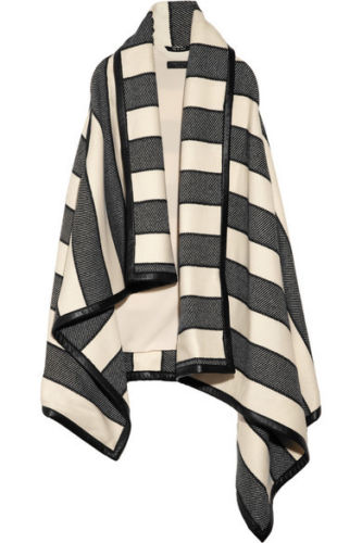 rag & bone Leather-trimmed striped woven wool-blend blanket vest cape coat Ladies