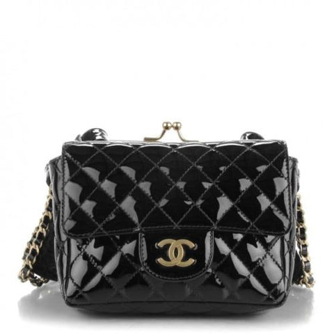 Chanel Limited Edition Patent Lace Mini Kiss Lock Flap Double Bag Black Handbag Ladies