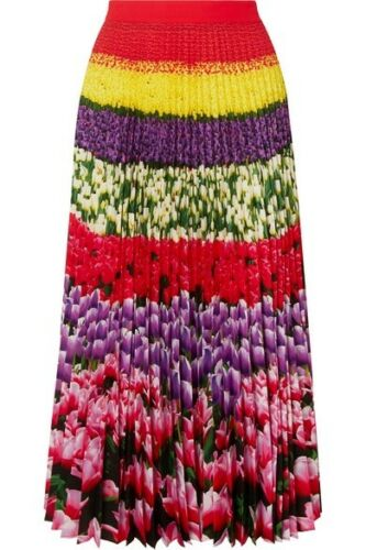 MARY KATRANTZOU Uni Pleated Floral-Print Crepe De Chine Midi Skirt 2019  Ladies