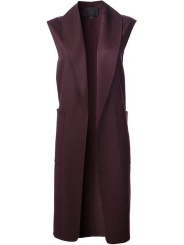 ALEXANDER WANG plum wool sleeveless midi coat jacket Ladies