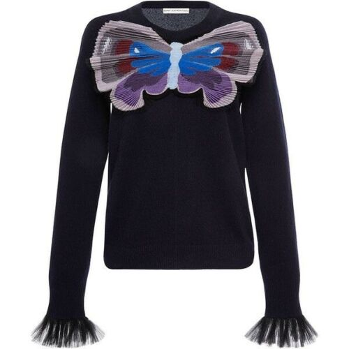 MARY KATRANTZOU Runaway Tuco Embroidered cashmere knit sweater jumper S Small Ladies