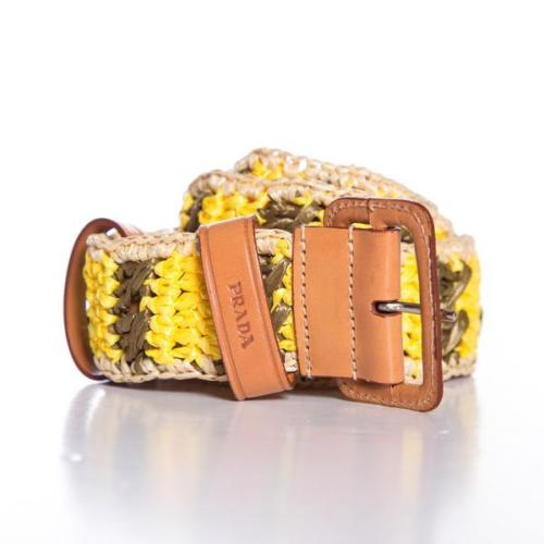 Prada Yellow & Green Woven Raffia Waist Belt 34 / 85 Amazing for Summer Ladies