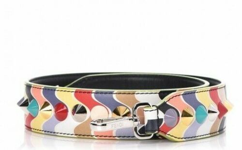 FENDI Calfskin Studded Wave Strap You Multicolor leather bag strap handle ladies